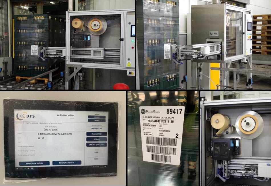 aplikátor etiket, automatické označování palet, tisk a aplikace etiket, snímání čárového kódu